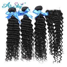 <b>Alisky Hair</b> 1/3/4 Bundles Can Buy <b>Brazilian</b> Deep Curly Human <b>Hair</b> ...