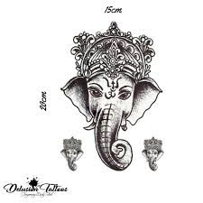 Details About Realistic Temporary Tattoo Ganesha Elephant Womans Girls Kids Fake Tattoo
