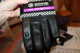 isotoner signature men s palm vented leather gloves thermaflex lined