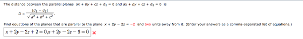 parallel planes equations. the distance between parallel planes ax by cz equations