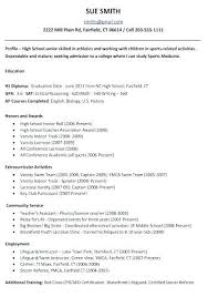Sample College Resumes For High School Seniors High School Resume
