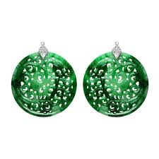 mix and match large circular green jade earring pendants in 18k white gold carved with an intricate foliate pattern and capped by pavé diamonds