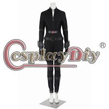 widow natasha romanoff costume include jumpsuit belt gloves wristband holster leg guard meterial black micro elastic black composite skin non