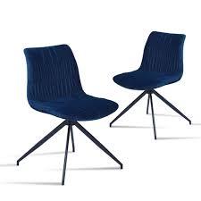 Buerado Home Samt Stuhl Tina Blau 2er Set