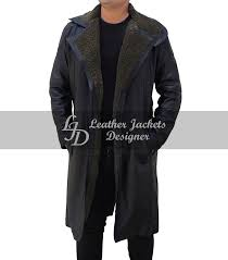 ryan gosling blade runner mens blue leather long trench fur coat full