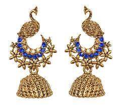 Gold Jhumka Design Images Amazon Com Pahal Ethnic Oxidized Blue Small Gold Jhumka