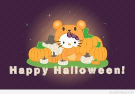 funny happy halloween wish with hello kitty