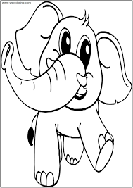 Baby Cartoon Elephant Coloring Page Wecoloring