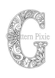 Adult Colouring Page Alphabet Letter G Products Lettering