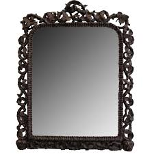 Large Mirror in Carved Dark Walnut Antique Frame - Rococo Traditional  Mirrors - Dering Hall