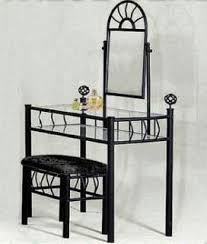 black bedroom vanities. Black Metal Bedroom Vanity With Glass Table \u0026 Bench Set Vanities A