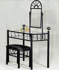 image unavailable image not available for color black metal bedroom vanity with gl table bench set