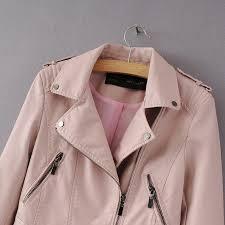 women black faux leather jacket and coats motorcycle jackets jaqueta de couro feminine las biker jacket pink