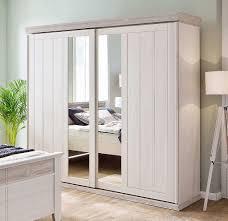 Details Zu Massivholz Schwebetüren Kleiderschrank 2türig Kiefer Weiß Mit Spiegel Schrank