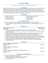 professional facilities maintenance lead templates to showcase resume templates facilities maintenance lead