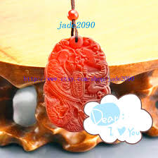 free good luck natural red jade carved dragon phoenix pendant charm