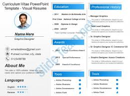 Curriculum Vitae Powerpoint Template Visual Resume Presentation Inspiration Resume Powerpoint