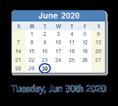 June 30 2020 Calendar With Holidays Count Down Usa