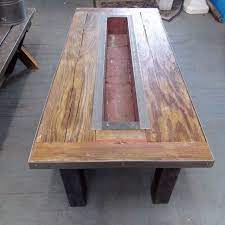 salvaged barnwood coffee table with