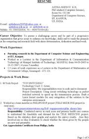 Resume Samples For Bsc Computer Science Bsc Computer Science Resume Format  For Fresher Write Computer Science
