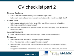 CV checklist part 2 Resume Sections Career Goal Accomplishments