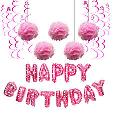 Us 8 92 49 Off Birthday Party Pink Paper Balloons Decoration Set Happy Birthday Balloon Hanging Swirls Pom Poms Boy Girl Party Favors Pink Set In