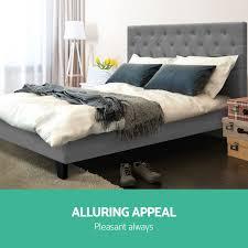 ... NEW Queen Size VAN Bed Frame Linen Fabric Wooden Mattress Steel Beam  Grey ...