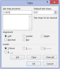 type of tab how to set a tab stop in the tabs dialog box in word 2013