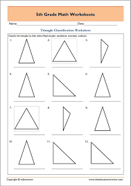 Free 5th grade geometry math worksheets – Triangle classification ...
