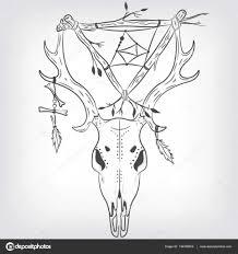 олень череп и ловец снов векторная печать векторное изображение