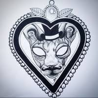 frame tattoo designs. Mad-eyed Sphynx Cat In Thick Beaded Heart Frame Tattoo Design Designs