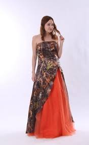 colorful strapless split front orange and camo wedding dress