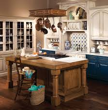 Delightful Hanging Ceiling Kitchen Appliance Storage Over Rustic Wooden  Kitchen Island As Well As Distressed White Cabinets In Small Space French  Country ...