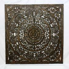 wall decor teak wood lotus flower panel square thai art hanging on lotus panel wall art with wall decor lotus flower teak carving 48 x 48 lotus carving black