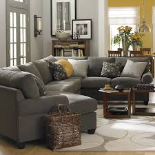 Left Cuddler Sectional -- love the idea of a gray couch... yellow