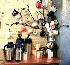 mug rack wall mounted holder coffee hanger shelf shelves cups wooden
