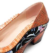 Socofy Size Chart Socofy Genuine Leather Splicing Lace Slip On Pumps Fashion