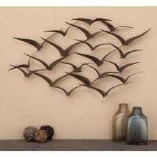 brown iron flying birds wall decor modern metal wall