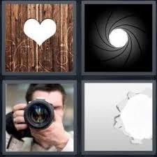 4 Pics 1 Word Answer For Heart Lens Camera Hole Heavy Com