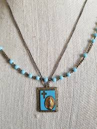 vintage turquoise glass rosary bead pendant necklace with turquoise glass marasite miraculous pendant double strand