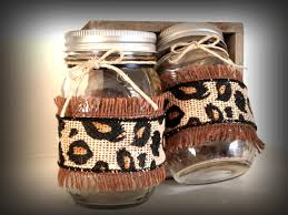 Cheetah Print Decor Burlap Mason Jar Decorated Mason Jar Cheetah Print Centerpiece
