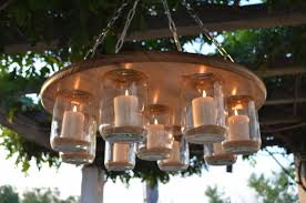 lighting beautiful patio chandelier outdoor 3 mason jar wedding decor rustic candle throughout diy outdoor patio