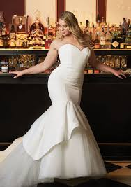 Style 8933 Satin Mermaid Wedding Dress Accented With Apron