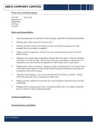 Confortable Resume Description For Prep Cook On Chef Skills Resume