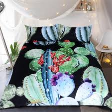 cactus printed bedding set king queen twin size luxury tropical plants bed duvet cover single double sheets set bedclothes duvet cover queen duvet covers