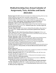 Annual Calendar 2015 Medical Assisting Class Annual Calendar Of Assignments Tests