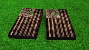 american flag burned wood look custom