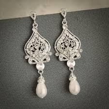 vintage wedding earrings wedding earrings bridal earrings swarovski pearl chandelier new trends