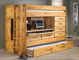 All-In-One Twin Loft Bed Set w Storage, Desk & Pull-