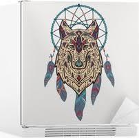 Vektorové Barevné Ilustrace Kmenové Stylu Vlka S Etnickými Ornamenty A Lapač Snů Indiána Motivy Totem Tetování Design Boho